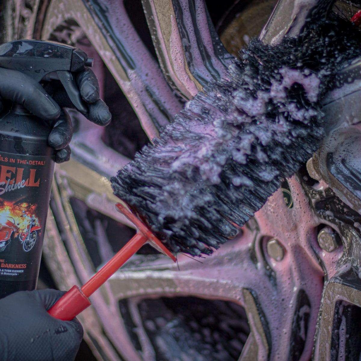 closeup of hellshine wheel cleaner
