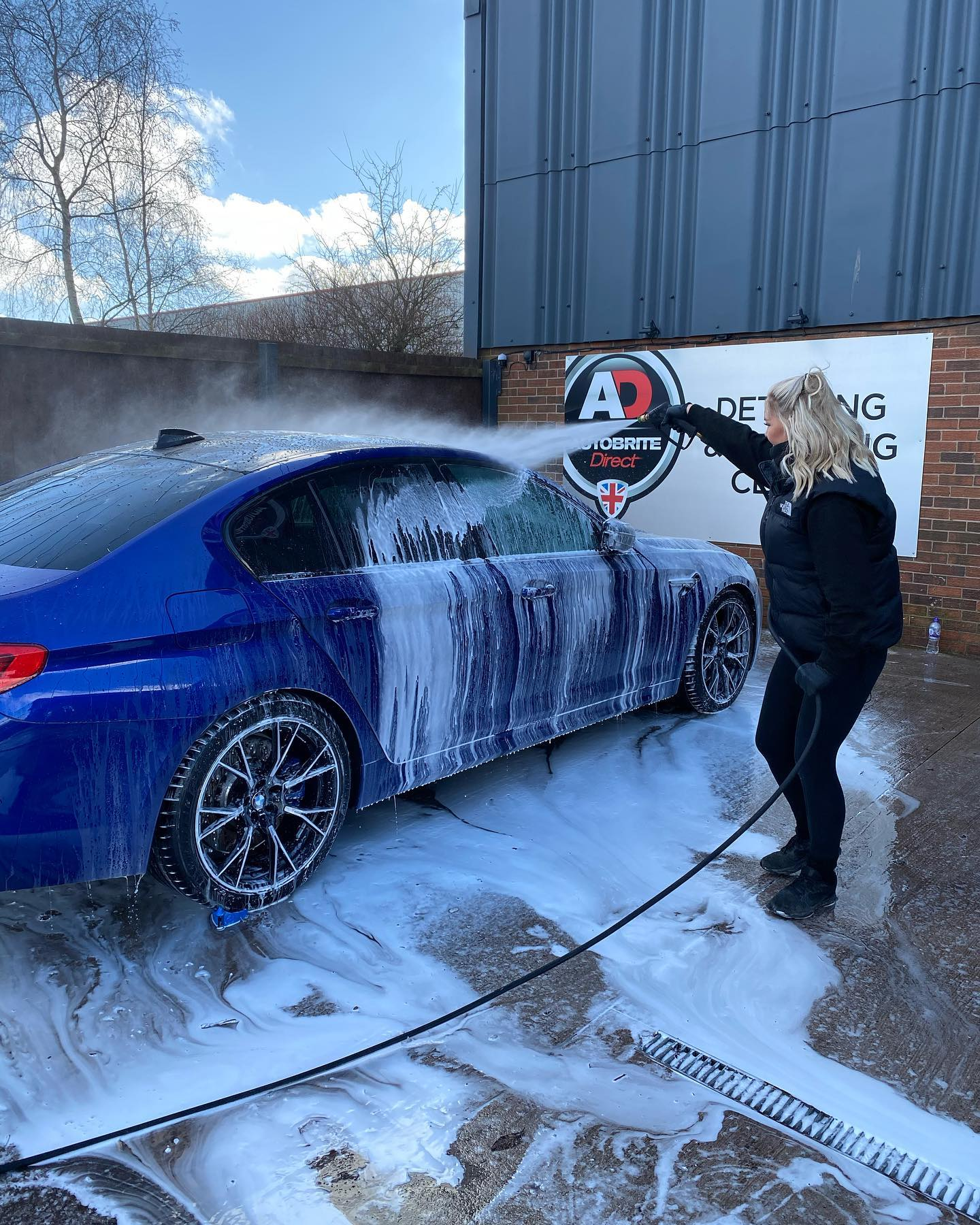snow foam on a car